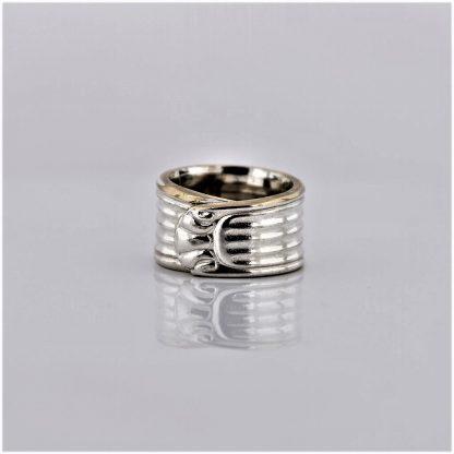 sølv fingerring ring sølvplett sølvring stripemønster rosett