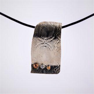 sølv sølvanheng blondemønster zirkonia kobberkuler kobber kopperkuler kopper skinn skinnkjede anheng sølvanheng